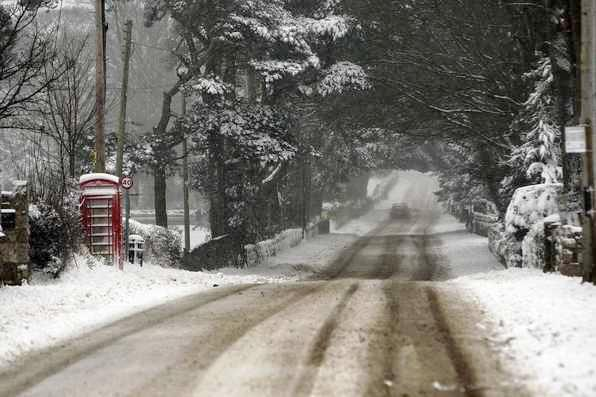 WEATHER - Snow in Flintshire on Friday. Monastery Road in Pantasaph