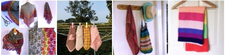 From left: South Bay Shawl, Facecloths, Market Bag, Blanket