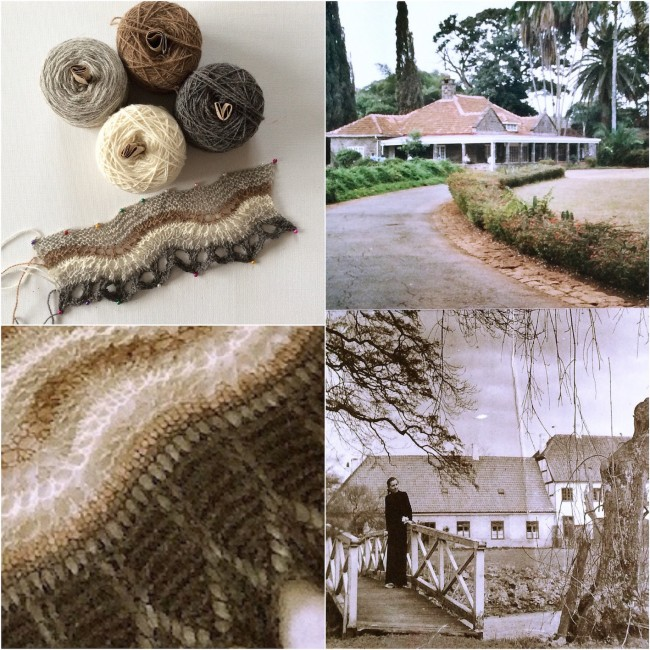 Isager Alpaca 2 and swatch, Karen Blixen's farm MBagathi in Africa, Her home Rungstedlund in Denmark, sample of design - photos all author's own